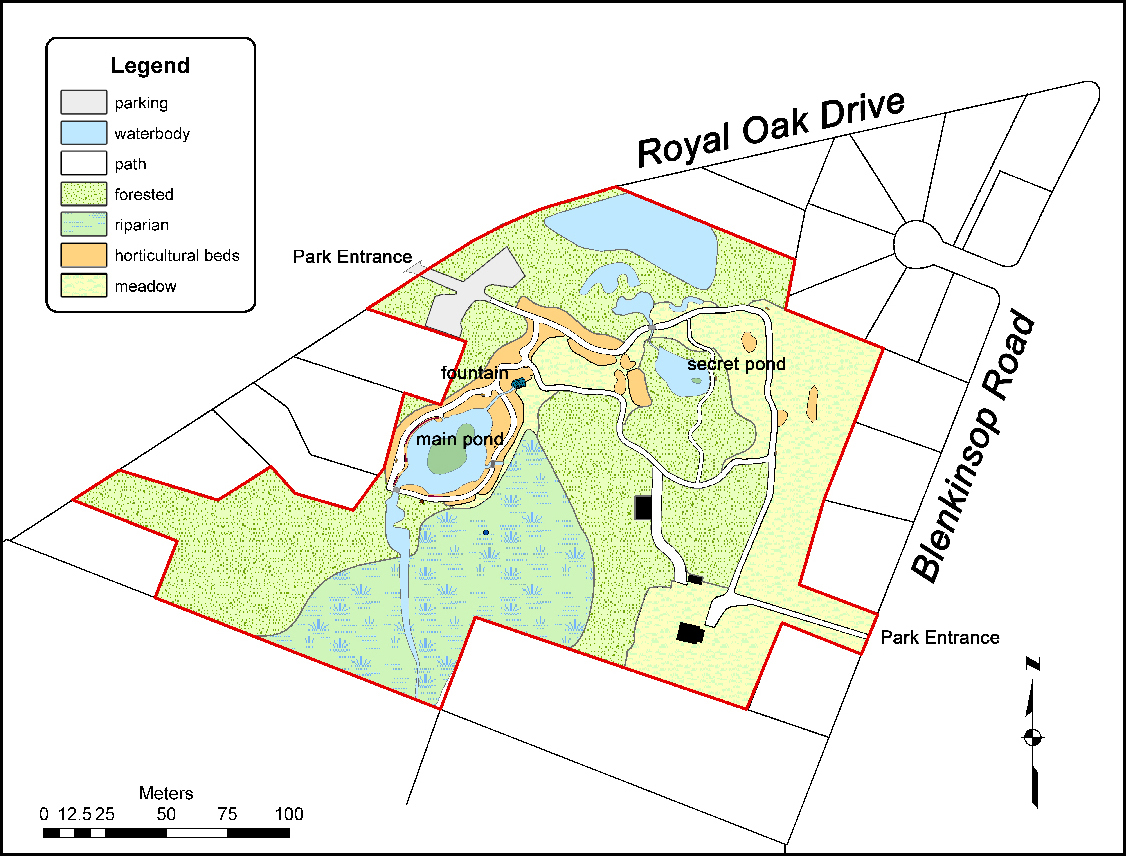Map of the park showing the paths, ponds, and other features